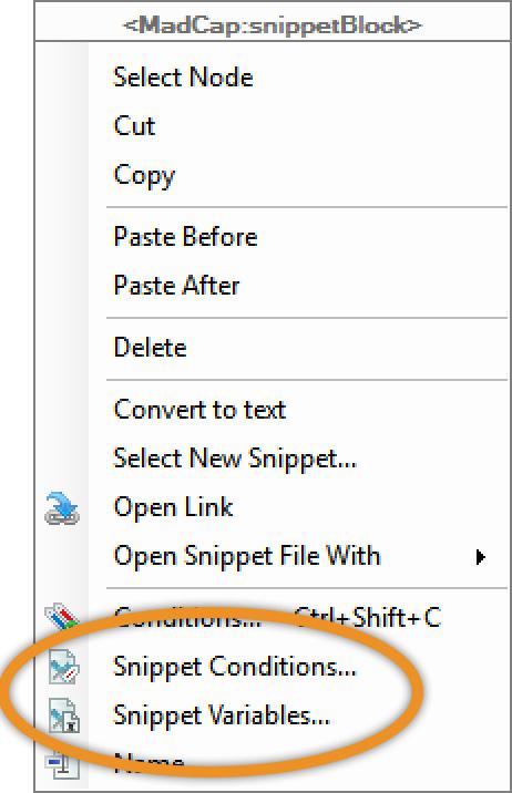 Contextual menu showing snippet options