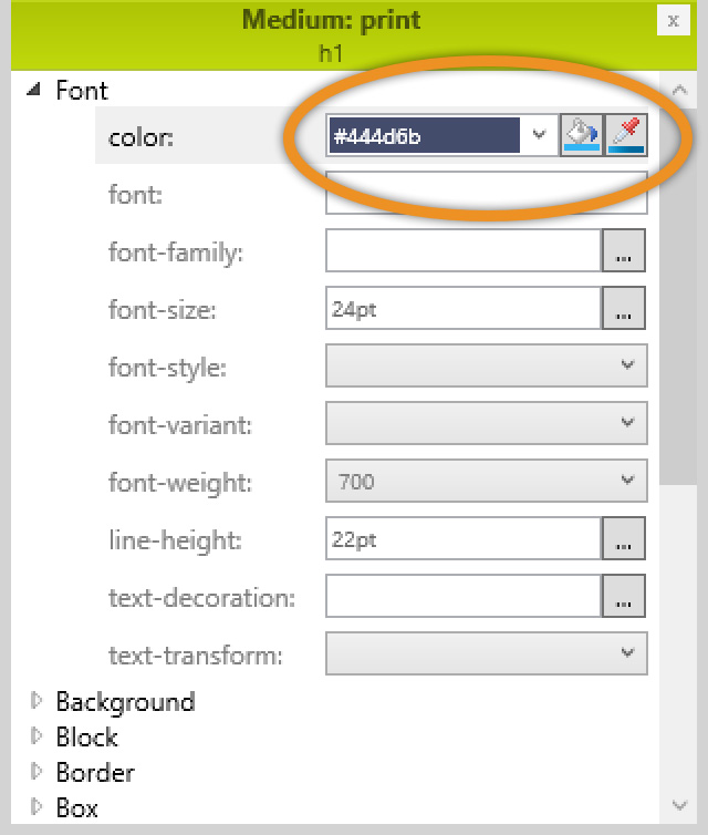 Stylesheet Editor's Print Medium settings