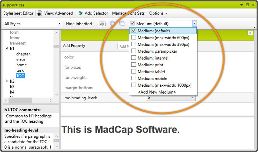 Medium select box in the Stylesheet Editor