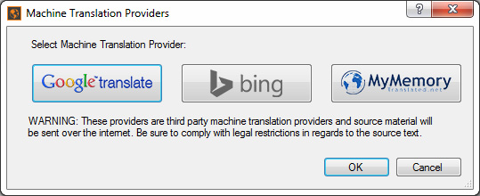 screenshot of MadCap Lingo 9 Machine Translation Providers selection window