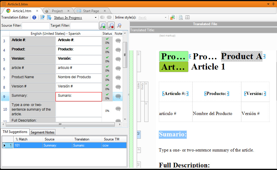 screenshot of the MadCap Lingo 9 Translation Editor screen