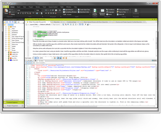 Figure 5. Text Editor and XML Editor shown in split view