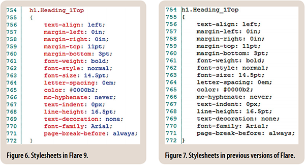 Figures 6 & 7: Stylesheets in Flare