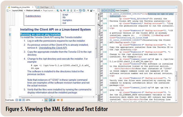 Figure 5. Viewing the XML Editor and Text Editor