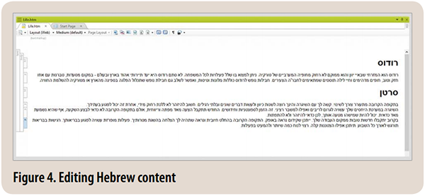 Figure 4. Editing Hebrew Content