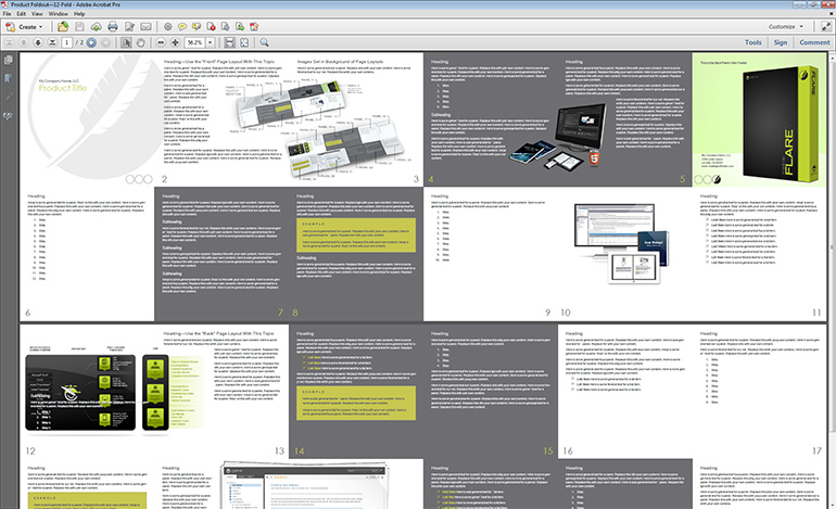 The 12-fold product foldout, generated as a PDF