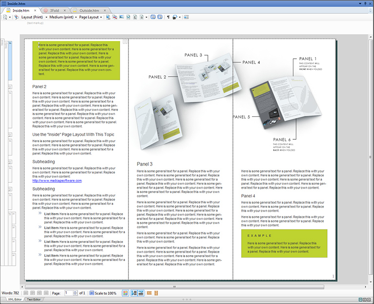 The 3-fold brochure sample, as viewed in the XML Editor