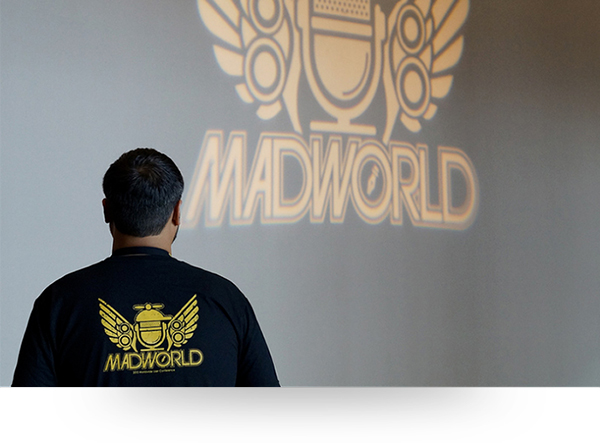 Madworld logo in hotel lobby