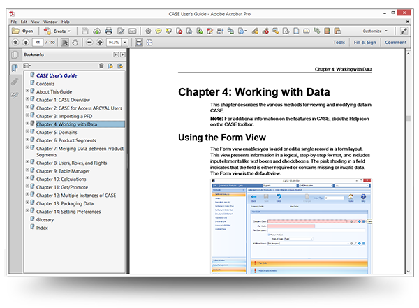 Screenshot of the CASE User Guide