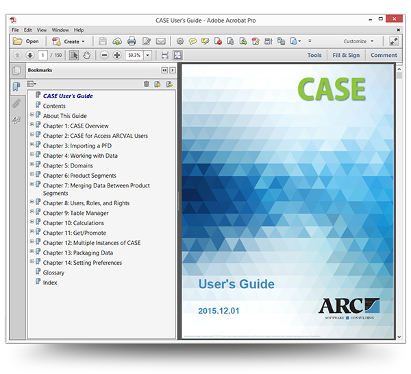 Screenshot of the CASE User Guide Cover