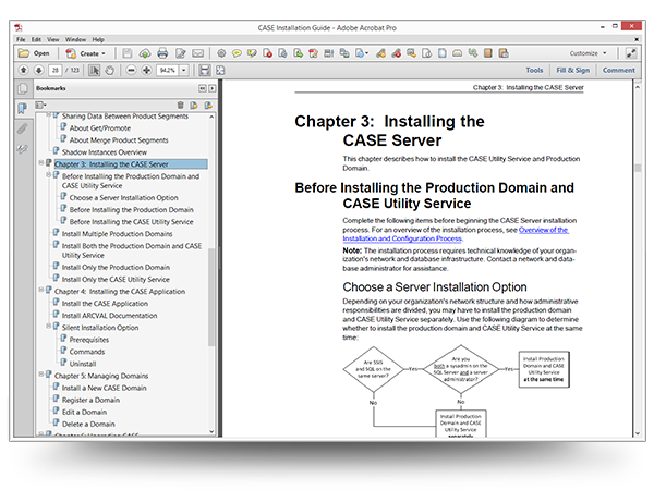 Screenshot of a sample topic in the CASE Installation Guide