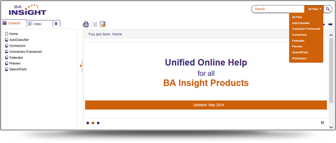 Screenshot of BA Insight's Unified WebHelp