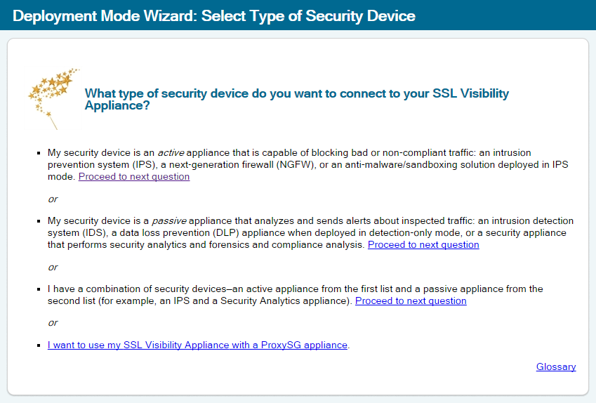 Screenshot of Blue Coat deployment mode wizard: Select Type of Security Device