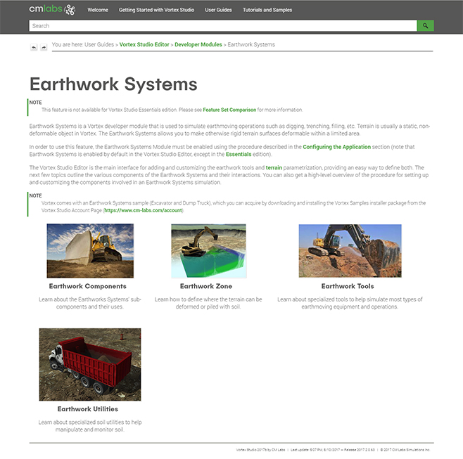 Earthwork Systems topic in CM Labs online help