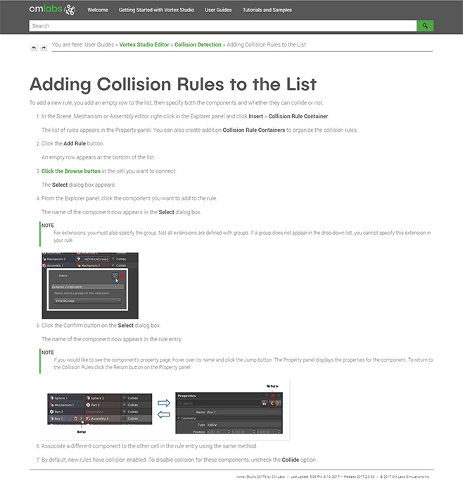 Collision Rules topic in CM Labs online help