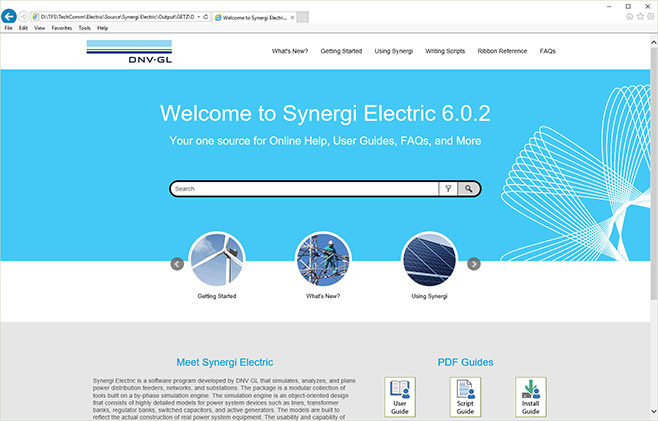 Screenshot of Synergy Electric's online help portal home page