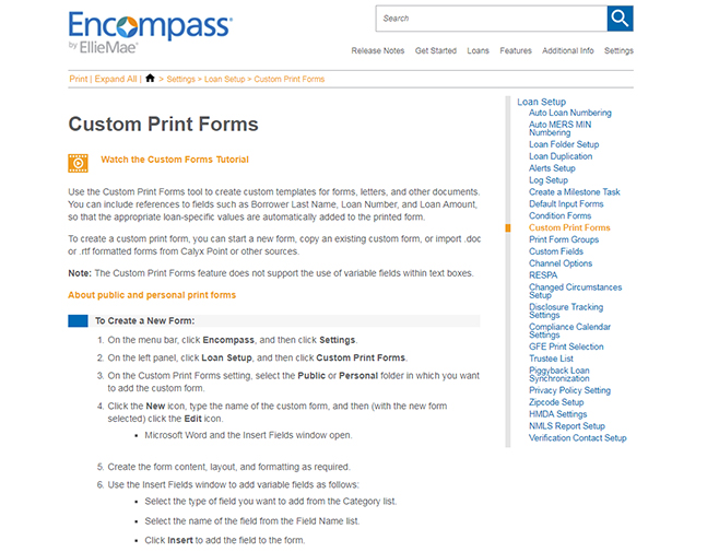 Encompass Custom Print Forms topic