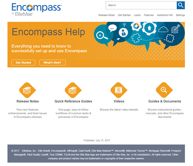 Encompass welcome page