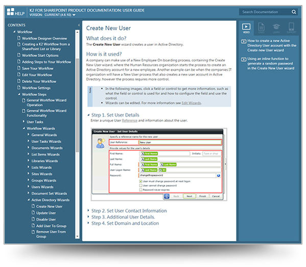 Screenshot of K2 for Sharepoint Help