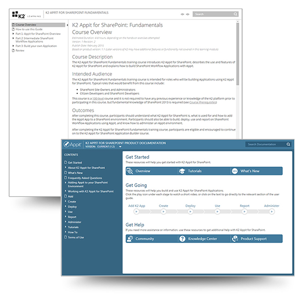 Screenshot of K2 Appit for SharePoint User Guide and Course Overview screenshots