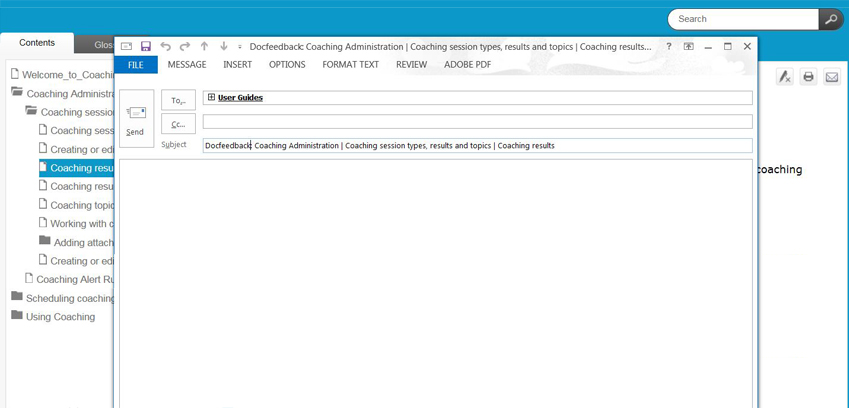 Verint Help Topic and external email client window
