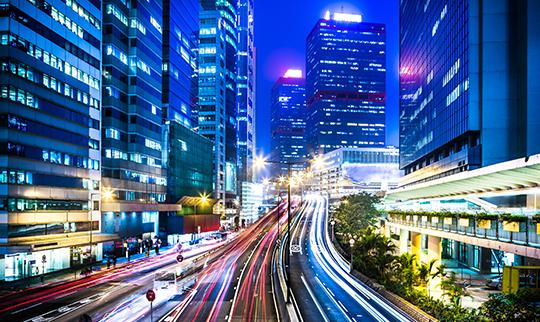 Traffic Passing Through City