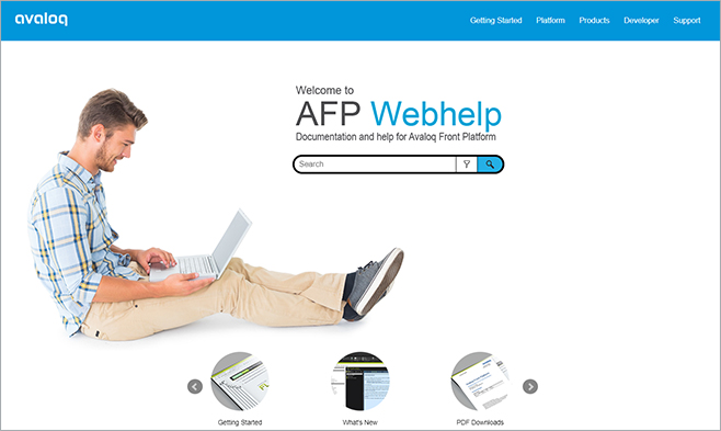 Welcome Page of Help Site for Avaloq Front Platform