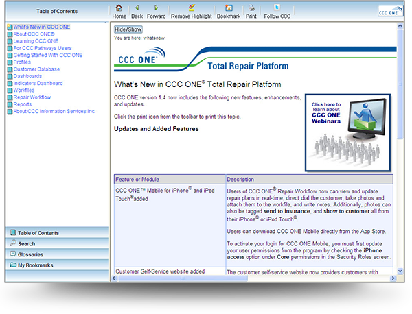 CCC WebHelp Screenshot