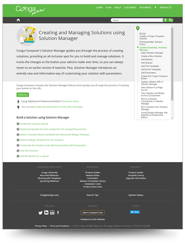 Screenshot of Conga's Solution Manager topic