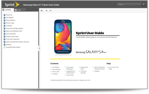 Screenshot of Samsung Galaxy S5 Sport eGuide Welcome Screen