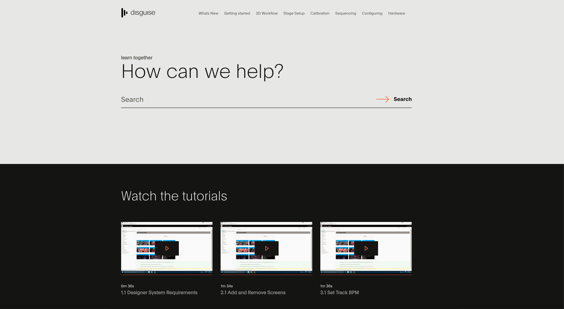 Screenshot of Home Page of disguise one's HTML5-based Help Site