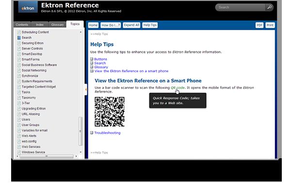 Ektron's HTML5 WebHelp with QR Code