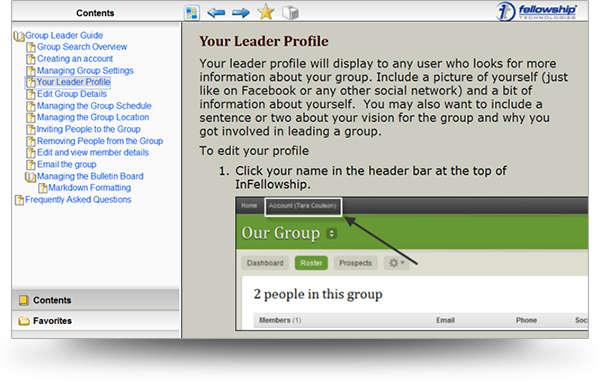 Screenshot of Fellowship Technologies Group Leader Page