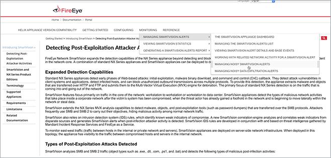 Screenshot of FireEye's HTML5-based Documentation