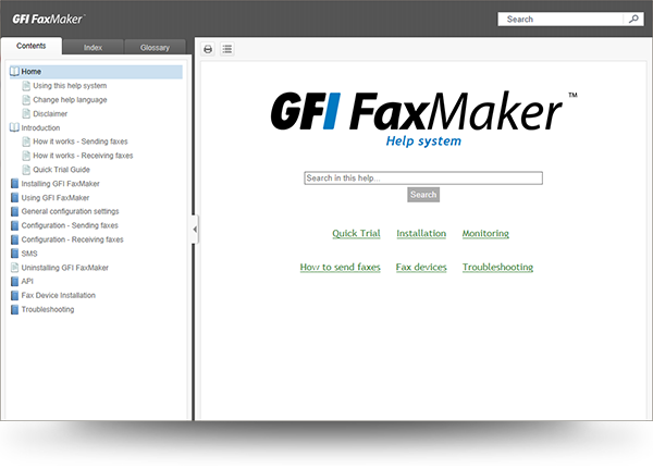 Screenshot of GFI FaxMaker HTML5 WebHelp
