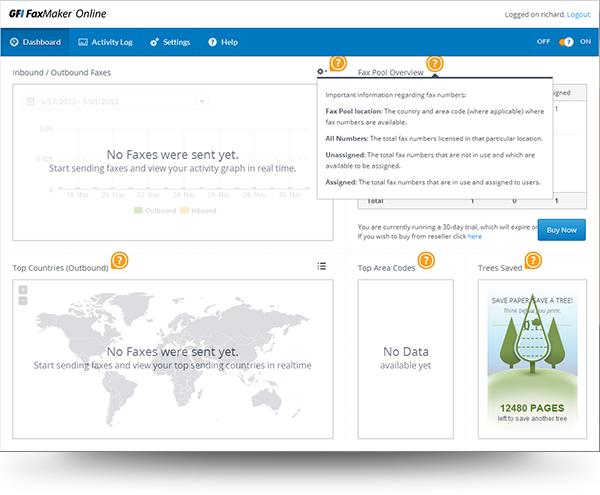 Contextual Help Menu in GFI FaxMaker™ Online