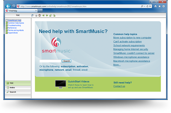 MakeMusic's Online Help, Screenshot 1
