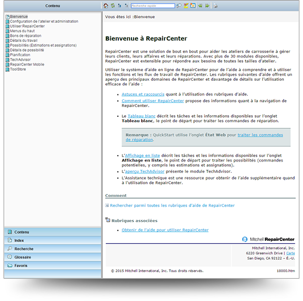 Screenshot of Mitchell help topic translated into French