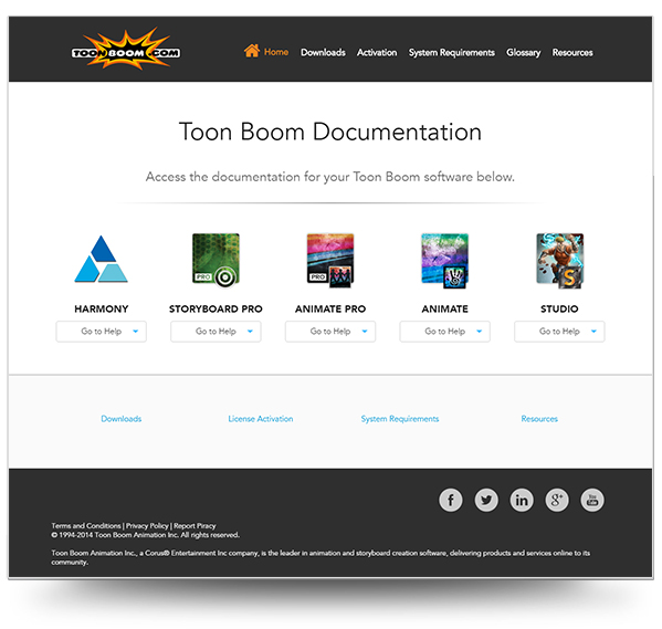 Screenshot of the Toon Boom Documentation Home Page