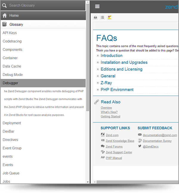 Screenshot of the glossary menu from the Zend Server help system