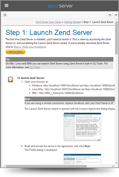 Screenshot of a sample topic from Zend Server