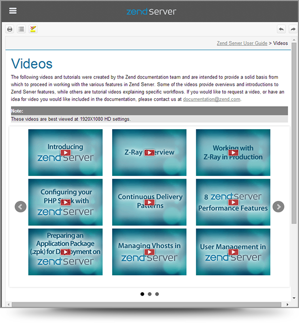 Screenshot of slideshow with a video display from the Zend Server online help