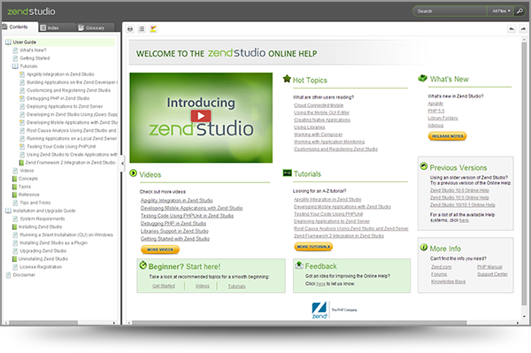 Screenshot of Zend Studio's Online Help Welcome Screen