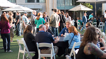 Attendees gathered at the Hard Rock Hotel patio