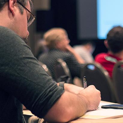 Taking notes at a presentation