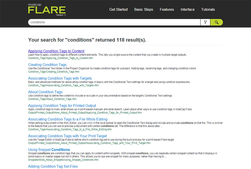 Screenshot of the search results screen in MadCap Flare