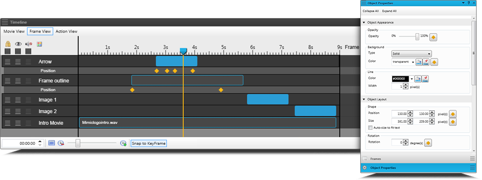 Screenshot of MadCap Mimic's Timeline Window